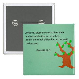 Genesis 12:3 15 cm square badge