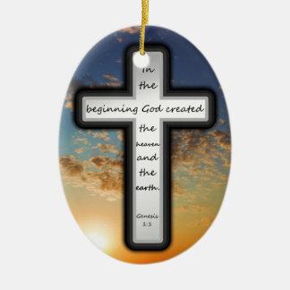 Genesis 1:1 ceramic ornament