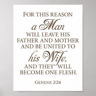 Genesis 2:24 Dark Gold Wedding Love Quote 8 x 10 Poster