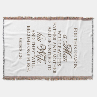 Genesis 2:24 Love Quote Wedding Blanket