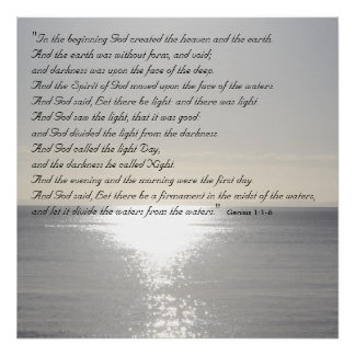 Genesis Bible Quote Christian Creation Poster Sea