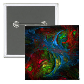 Genesis Blue Abstract Art Button (square)