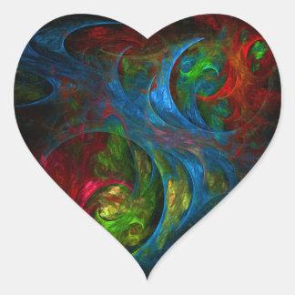Genesis Blue Abstract Art Heart Sticker