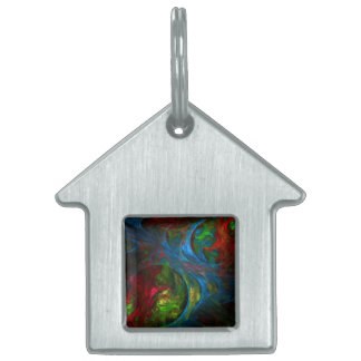 Genesis Blue Abstract Art House Pet ID Tag