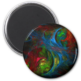Genesis Blue Abstract Art Round Magnet