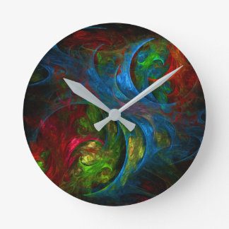 Genesis Blue Abstract Art Round Round Clock