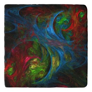 Genesis Blue Abstract Art Stone Trivet