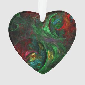 Genesis Green Abstract Art Acrylic Heart Ornament