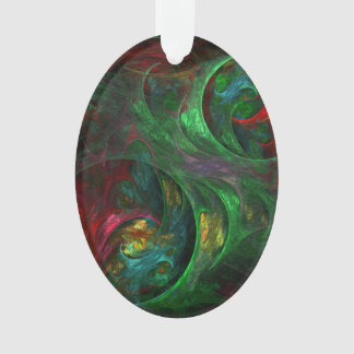 Genesis Green Abstract Art Acrylic Oval Ornament