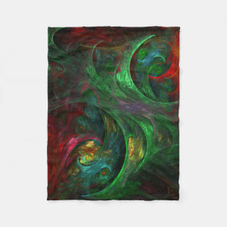 Genesis Green Abstract Art Fleece Blanket