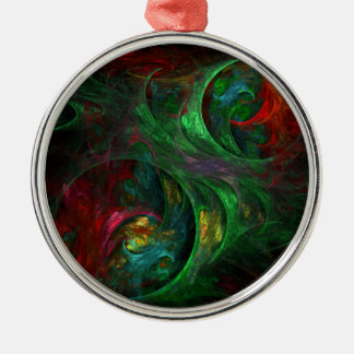 Genesis Green Abstract Art Round Metal Ornament