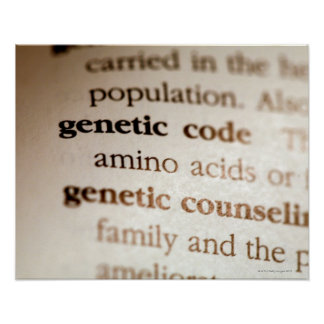Genetic code and genetic counseling definitions poster
