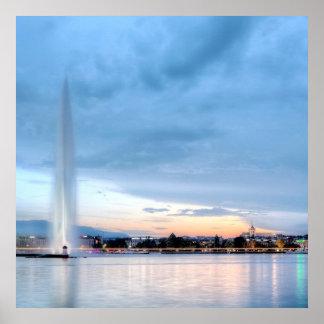 Geneva fountain, Switzerland Poster