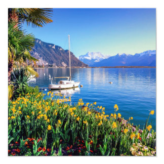 Geneva lake at Montreux, Vaud, Switzerland Card