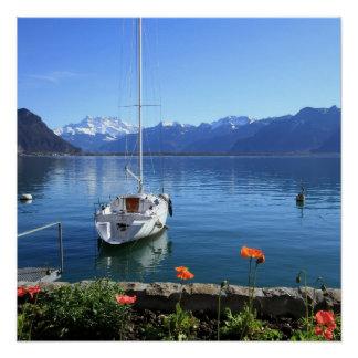 Geneva lake scenery, Montreux, Switzerland