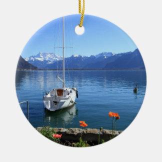 Geneva lake scenery, Montreux, Switzerland Round Ceramic Decoration