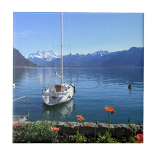 Geneva lake scenery, Montreux, Switzerland Tile
