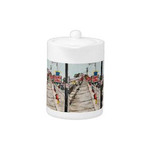 """""""Geneva-On-The-Lake Street View"""" Small Teapot"""