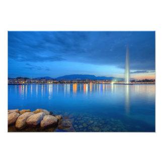 Geneva panorama with famous fountain, Switzerland, Photo Print