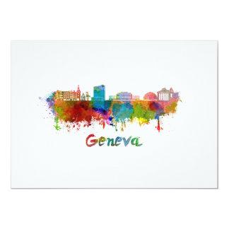 Geneva skyline in watercolor card
