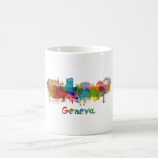 Geneva skyline in watercolor coffee mug