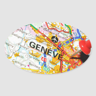 Geneve, Geneva, Switzerland Oval Sticker