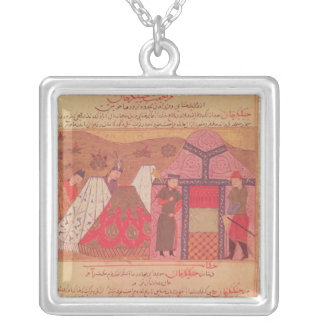 Genghis Khan outside his tent Silver Plated Necklace