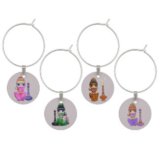 Genie Belly Dancer Big Eye Dancing Girls Cuties Wine Charm
