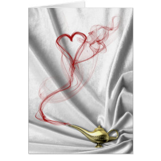 Genie Lamp with Heart Smoke - Greeting Card