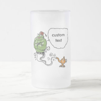 genie of the lamp with custom text frosted glass beer mug