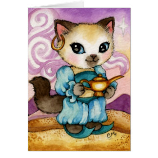 Genie's Lamp Aladdin Kitty - Cute Cat Card