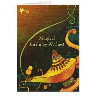 Genie's Lamp Birthday Wishes Card