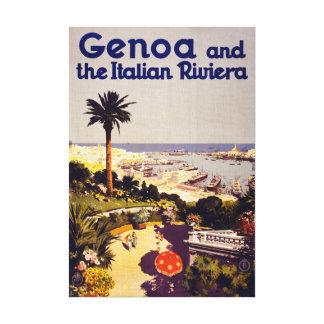 Genoa and the Italian Rivera Vintage Poster Restor Canvas Print