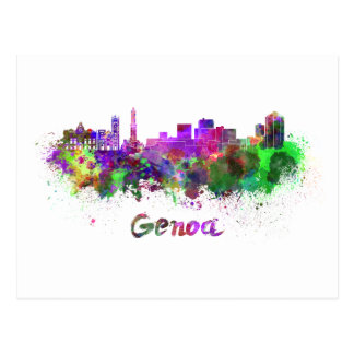 Genoa skyline in watercolor postcard