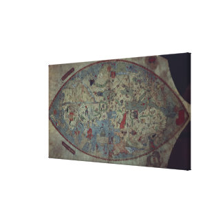 Genoese world map, designed by Toscanelli Stretched Canvas Print