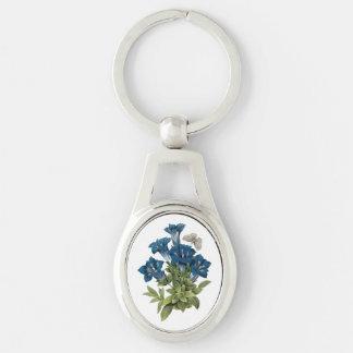 gentian(Gentianae acaulis) by Redouté Key Ring