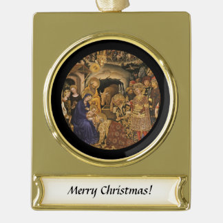 Gentile Dei Fabriano Adoration of Magi Gold Plated Banner Ornament