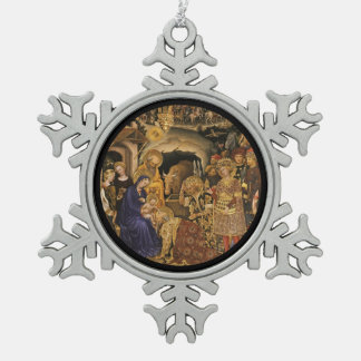 Gentile Dei Fabriano Adoration of Magi Pewter Snowflake Decoration
