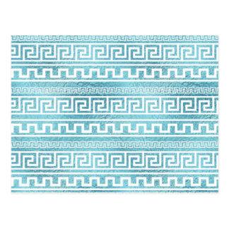 Gentle Blue Greek Meander Pattern on glass Postcard