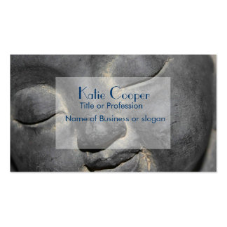Gentle Buddha Face Stone Sculpture Business Card Templates