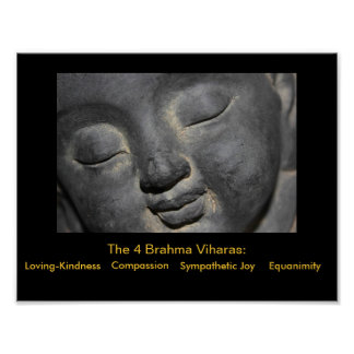 Gentle Buddha Face Stone Sculpture Posters