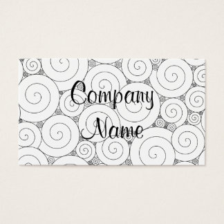Gentle Geometric Black & White Spirals Business Card