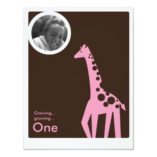 Gentle Giraffe Brown & Light Pink Card