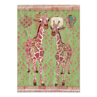 "Gentle Giraffes Pink Baby Shower Invitation 5"" X 7"" Invitation Card"