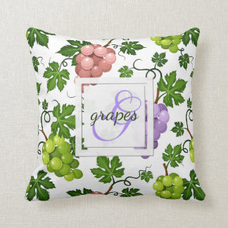 Gentle Grapes and Grapevines Cushion