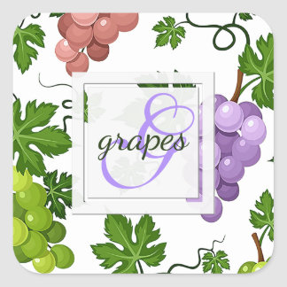 Gentle Grapes and Grapevines Square Sticker