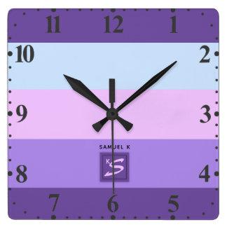Gentle Lavender Dreams Color Palette Monogram Square Wall Clock