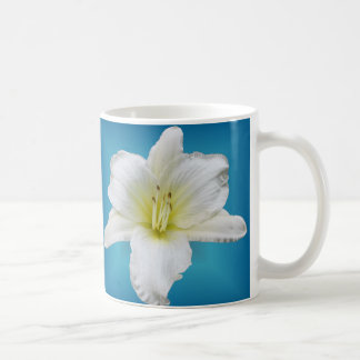 Gentle Lily - Daylily on Blue Coffee Mug