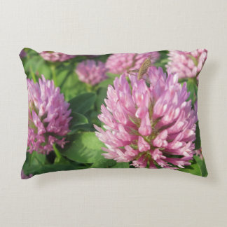 Gentle pink and green clover decorative cushion