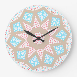 Gentle Pink & Blue Kaleidoscope Large Clock